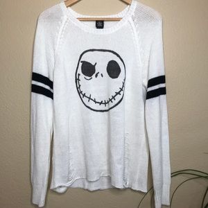 Distressed jack skellington long sleeve knit